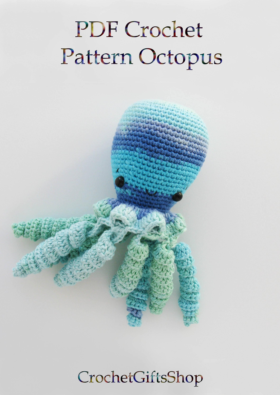 Crochet pattern octopus amigurumi toy plush sea animal digital