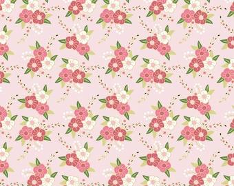 Wonderland Floral in Pink Sparkle Metallic  (c5181)  - Riley Blake Designs Fabric - By the Yard