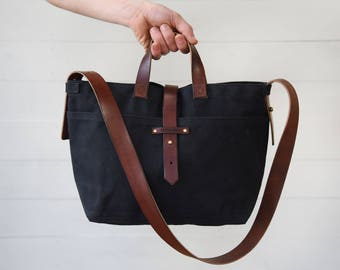 Waxed Canvas Tote Coal, Waxed Canvas Bag, Black Canvas Tote Bag, Fabric Crossbody Bag, Wax Canvas Diaper Bag, Leather, Shoulder Bag TT16
