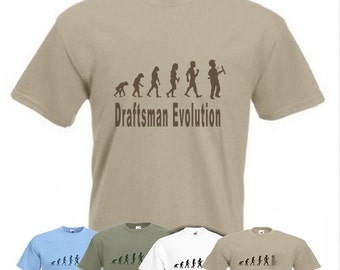 Evolution To Draftsman t-shirt Funny CAD operator T-shirt sizes Sm TO 2XXL