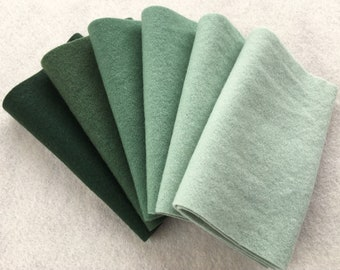 "Hand Dyed Felted Wool Gradation, EVERGREEN, Value Gradient in Forest Green and Sage, 6 pcs. 6.5"" x 16"" Each"