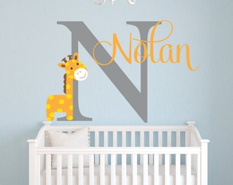 Name Wall Decal   Giraffe Wall Decal   Giraffe Baby Boy Room Decor   Safari Wall  Decal   Nursery Wall Decal