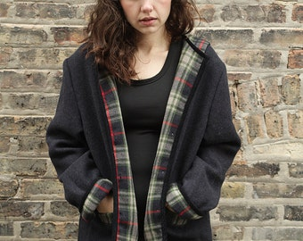 90s Plaid Hooded Grunge Wool Coat with Pockets