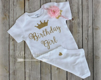 Gold first birthday bodysuit with Pink and gold headband, Glitter Birthday Girl outfit, Girls first birthday outfit, Cake smash photo prop