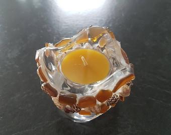 Seaglass and Shell tea light candle Holder