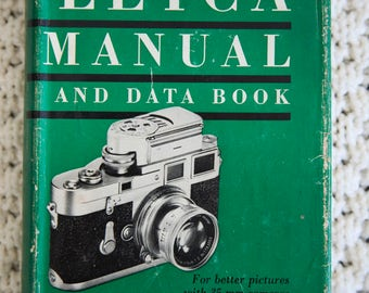 Two Vintage 1950s Leica 35mm Photography Instructive Manuals Books w slipcovers illustrations in black/white and color photos Focal Press