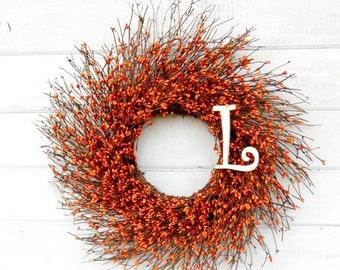Fall Wreath-MONOGRAM Wreath-Rustic Orange Twig Wreath-ORANGE Berry Wreath-Monogram Door Wreaths-Initial Wreath-Fall Home Decor-Autumn Wreath