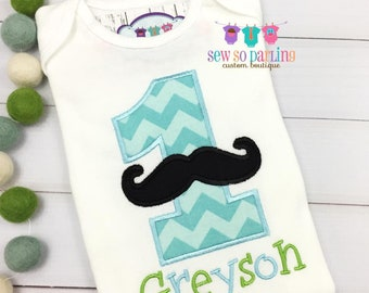 Baby Boy Birthday Mustache Shirt - Baby Boy 1st Birthday outfit - 1st Birthday Little Man Birthday Outfit - 1st Birthday Outfit - ANY AGE