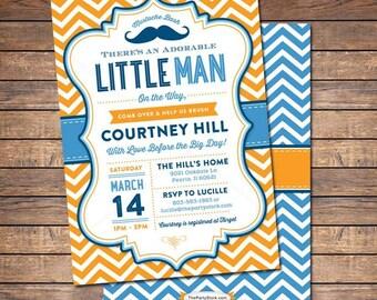 Unique Baby Shower Invitation, Little Man Mustache Bash Party Invite with FREE back, Printable Baby Boy Invitations, Blue, Orange, Chevron