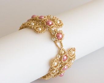 Beaded Gold Bracelet with Pink and Cream Pearls, Art Deco Style, Textured Geometric Beaded Bracelet with Pearls S159