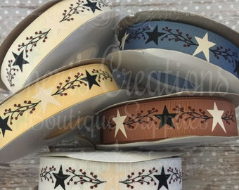 "7/8"" Country Chic - Homespun Stars - Down on the Farm - Country Life - U.S. DESIGNER - High Quality Grosgrain Ribbon - By The Yard"
