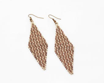 Earrings copper and cream