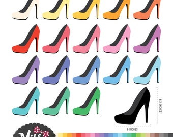 26 Colors High Heels Clipart - Instant Download