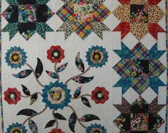 Mayflowers Patchwork and Applique Quilt Pattern, PDF version