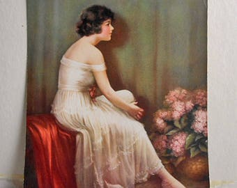 Lovely PROM DANCE GIRL on Red Satin Print to Frame, Rich Litho Colors, Girlie Silk Gown Pink Hydrangea Bouquet Antique 1920s Teen Decor