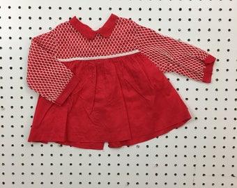 Vintage baby girl red dress Peter Pan collar tunic 12 months