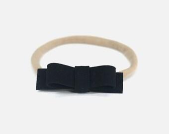 Suede Headband, Black Headband, Small Headband, Small Baby Headband, Small Bow, Newborn Black Headband, Simple Baby Headband, Black Suede