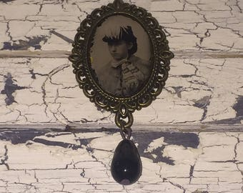 Victorian Gem Tin Type Photo Brooch Pin with Edwardian Black Glass Drop