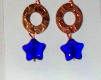 MAINE MADE - Handcrafted Copper – Cobalt Glass Dangle Earrings