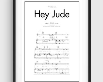 The Beatles Hey Jude Song Music Notes Poster, Black & White Minimal Print Poster, Art, Home Art, Minimal Graphics, Music Poster, Home Decor