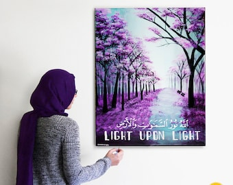 Islamic art, islamic calligraphy, islamic painting, islamic canvas, Purple trees, trees painting, landscape, forest, Quran painting