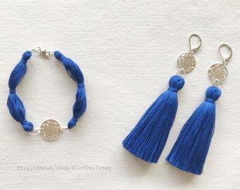 UNIQUE! Royal Touch Jewellery Set. Silk | Silver. Tassel Earrings & Bracelet.