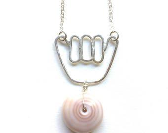 Sterling silver Shaka and Hawaiian puka shell necklace