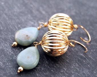 dulcet... gold amazonite drop earrings / 14k gold filled corrugated ball & amazonite teardrop earrings