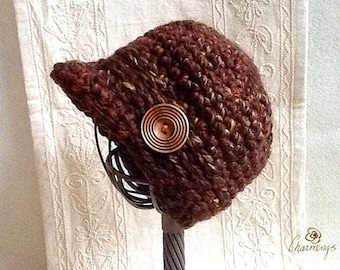 Ladies Brown Tweed Newsboy Hat with Honey Toned Wood Button, Women's Hat