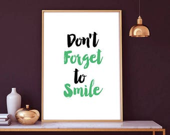 Don't Forget To Smile - quote print, nursery decor, playroom art, home decor, printable nursery, nursery quote, printable wall art