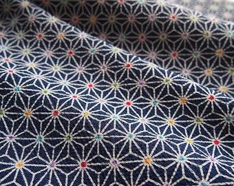 Fabric Japanese chirimen colorful Asanoha version blue 112 * 50 cm