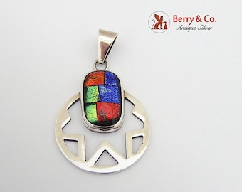 SaLe! sALe! Abstract Pendant Sterling Silver Art Glass