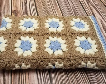 Crochet Baby Blanket Granny Square Baby Blanket Baby Boy Blanket Blue & Light Brown Blanket Stroller Car Seat Crib Afghan Baby Shower Gift