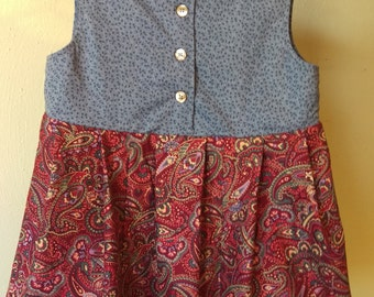 3T Vintage Style Cotton Blue Red Paisley Girls Dress