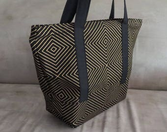 FREE SHIPPING ALWAYS - Black and Gold Square print tote bag, cotton bag, reusable grocery bag, knitting project bag, beach bag