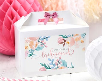 Will you be my bridesmaid Gift Box / ROSE MEADOW/ Maid Matron of Honour / Vintage Lace Bow