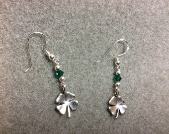 Lucky Four Leaf Clover SS Earrings Swarovski Crystals Emerald Luck Sterling Silver Earwires CL1632
