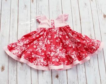 2t Girls dress Toddler dress Valentine dress Twirly dress  Spring dress Easter dress Ruffle dress Birthday dress Roses Floral Ready to ship