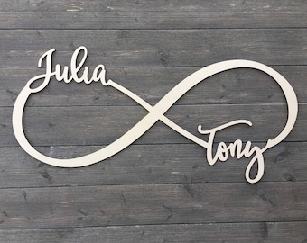 Personalized Large Infinity Name Sign with 2 Names, Custom Name Sign, Infinity Sign, Table Sign, Wedding Rustic Cute Unique