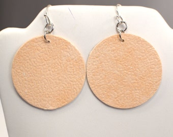 Peach Circle Drop Earrings, Textured Peach Paper Earring Dangles, Round Circle Earrings, Designer Paper First Anniversary Gift (E785)