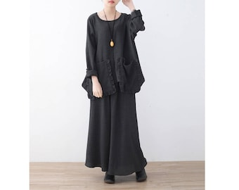 Womens Loose Fitting Round Collar Long Sleeve Texture Folding Cotton Blouses And Loose Pants Two Pieces Set, Casual Blouses, Casual Pants