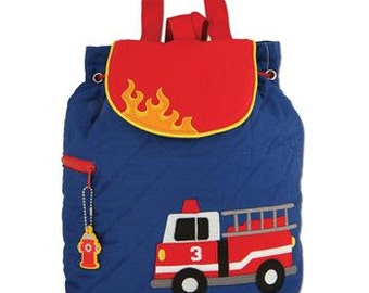 Personalized Stephen Joseph Quilted Firetruck Backpack, Diaper Bag, Toddler Bag, Overnight Backpack with FREE Embroidery
