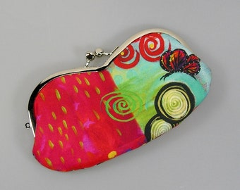 eyeglasses case, red cotton with butterfly pattern and retro metal clasp