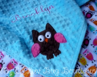 Personalized baby blanket minky-- owl baby blanket turquoise, fuschia and Brown Owl-  large personalized stroller blanket with name