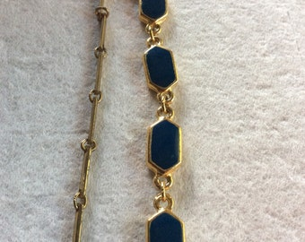 Vintage gold link chain bezel set navy blue enamel necklace
