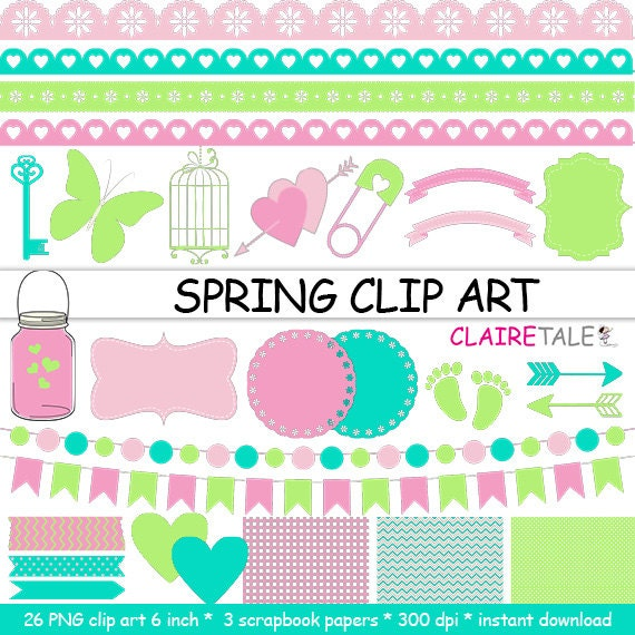"Digital ""SPRING CLIP ART"" frames, labels, ribbons, borders, flags, arrows, butterfly, lights, hearts, mason jar, key, bird cage, baby shower"