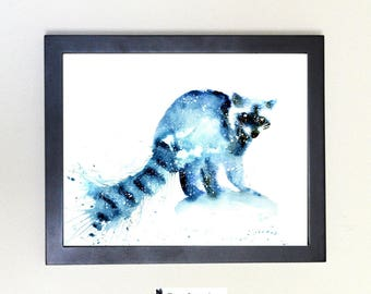 Raccoon Spirit Animal Art Print Watercolor 8x10