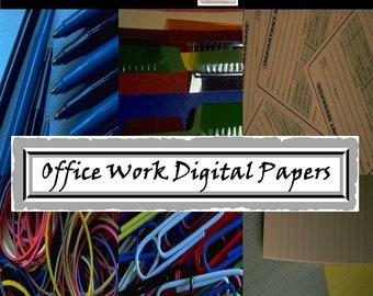 OFFICE WORK Digital Papers, envelopes thumbtacks, file folders, 44 PNG Images, Instant Download