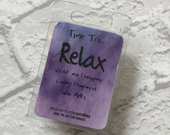 Time To ... Relax, Luxury, Wax Melts, Wax Tarts, Handmade, Violet, Frangipani, Scented Wax Melts, Wax Cubes, Gift for Her, Birthday Gift