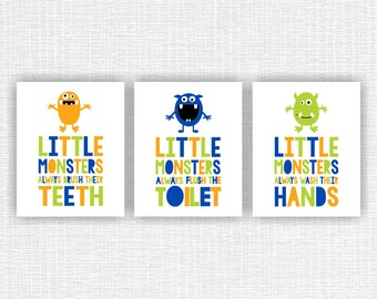 Monsters bathroom Wall Art Quote Prints, Blue Green Orange Monsters bathroom wall decor Set of 3, 8x10, Monsters INSTANT DOWNLOAD